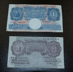 Bank Of England 10 Shillingsmauve And One Pound Notes - Peppiatt Notes