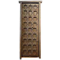 Antique Indian Painted Teak And Iron Mounted Single Door With Frame 19th Century
