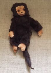 Antique Stuffed Toy Monkey Real Fur And Leather With Glass Eyes Collectable