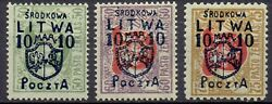 100 Genuine Central Lithuania 1920. Imprint Errors And039and039 3 And039and039 Stamps
