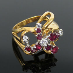 Vintage 0.90ct Ruby And 0.57ct Diamond 18k White And Yellow Gold Free Form Ring