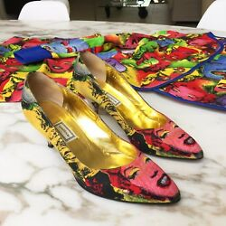 Gianni Versace Pop Art Print Iconic Marilyn Monroe James Dean Shoes From Ss 1991