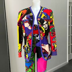 iconic GIANNI VERSACE Vogue printed silk jacket Pop Art size US 10 from ss 1991