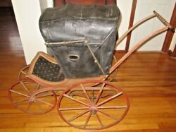 Antique Baby Pram Buggy Carriage Wood Wheels 1880's
