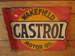 Wakefield Castrol Double Sided Sign. Vintage Sign. Enamel Sign.