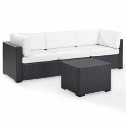 Crosley Biscayne 3 Piece Wicker Patio Sofa Set In Brown And White