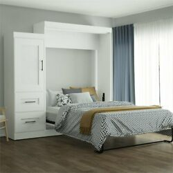 Bestar Edge Queen Wall Bed With 2 Drawer Storage Unit In White
