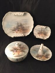 Vintage Antique Japanese Plates And Trinket Pot Hand Painted Geisha Mountain