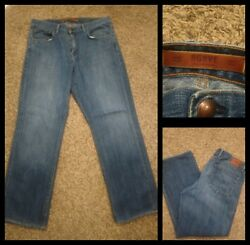 Mens Agrave Waterman Medium Wash Relaxed Straight Blue Jeans Size 35