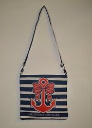Southern Couture Messenger Bag New Blue and White Anchor Design