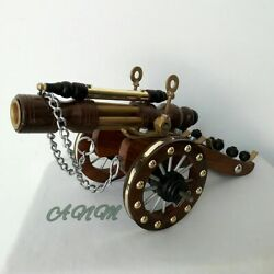 Antique Wood Brass Cannon Vintage Collectible Home Decorative Gift