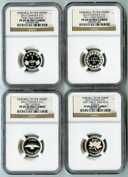 2012 Canada Ngc Pf69 Ucam Farewell To The Penny 4 Coin Silver 1 Cent Set