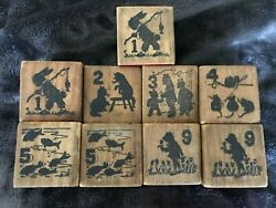 9 Vintage Antique Wooden Alphabet Blocks- Counting, 's, Letters, Animals, Items