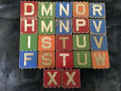 22 Antique Vintage Wooden Grooved Alphabet Blocks- Letters, Animals, Objects