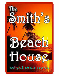 Personalized Beach House Sign Printed with YOUR NAME HI GLOSS ALUMINUM sunset398 $13.95