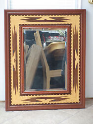 Hudson River Inlay Mirror - Santa Fe Border - Wood Marquetry By Nelson 25x32