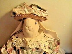 Primitive Raggedy Doll Bunny Rabbit Spring Floral Pink Sweet Rag Doll 24
