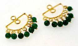 Green Emerald Color Stud Earring Cover Authentic 22k 22ct Yellow Gold Small Gift