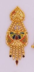 Gold Earring Pair 22k Jewelry Antique Wedding Filigree Jewelry Collection 01