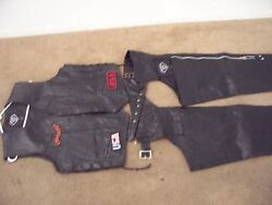 Diamond Plate Buffalo Leather Biker Vest And Chaps Super Nice Lower Priced