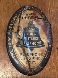 Antique Celluloid Advertising Pocket Mirror New England Telephone And Telegraph