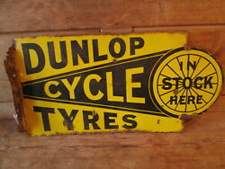 Dunlop Cycle Tyres Sign. Enamel Sign.vintage Sign.michelin. Goodyear.