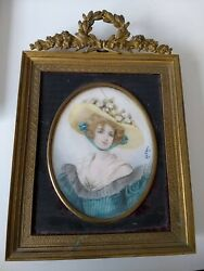 Miniature Portrait Of A Young Woman Antique 19th Century Filigree Ormalu Frame