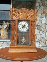 Outstanding Oak Kitchen Mantle Clock With Brass Works 19th Century.