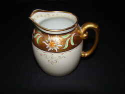 Vintage T And V Limoge Francehand Painted Pickard China Gold Creamer Pitcher