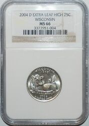 2004 D Ngc Ms66 Wisconsin Wi Quarter Extra Leaf High