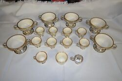 Lenox And Sterling Silver 6 Dessert Bowls And 10 Demitasse Cups W/ Holders