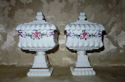 A Pair Of 1940s-60's Hand Painted Westmoreland Milk Glass Wedding Cake Bowls