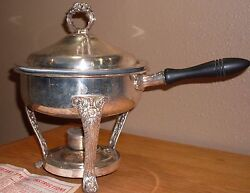English Silver Mfg Corp Silverplate Chafing Dish W/ Cover Glass Insert