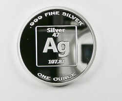 Pure Silver 1 Ounce 99.99 Fine Benchmark 1 Ounce Proof Element Design E23