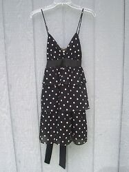 Mystic Dress Black Pink White Spots Tiered Spaghetti Straps Above Knee Size S