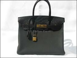 Limited Edition BLACK TOUCH CROCO 30cm Hermes Birkin BagGold