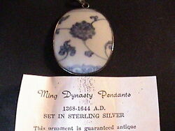 Antique Ming Dynasty Pottery Shard Sterling Silver Pendant Vintage Italian Chain