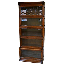 Mission Style Oak Barrister Bookcase 5 Stack W/ Leaded Glass - Walnut Stain