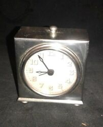 Carriage Clock Pottery Barn Alarm Silver Clock W/ Leather Case Vintage 1980and039s
