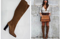 Zara Taupe Brown Camel Suede High Heel Boots Shoes 36 39 40 / Uk 3 6 7 / Us 8 9