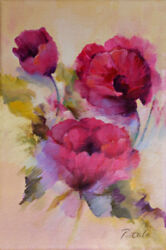 Original Oil Painting Flowers Pink Poppies Floral 6x9 Impressionism On Canvas