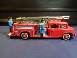 Vintage Toy Tin Fire Truck Friction Siren Bell Mf718 Nice Orig Boxes
