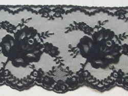Black Embroidered Lace Black Mesh Rose Flower 5quot; wide BTY $4.99