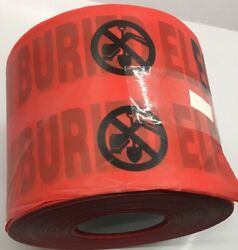 B6104r6 Presco Lot Of 4 Red Caution Buried Electric Line Below Tape 4 Mil 6 X