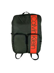 Calvin Klein Large Logo 15quot; Laptop Backpack Bag Green Orange New $38.97
