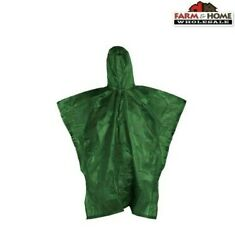 RainTek Emergency Rain Poncho Reusable Green ~ New