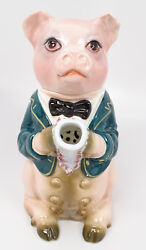Vintage Made In Italy Porcelain Pig Piggy In Bowtie And Jacket Teapot