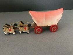 Vintage Prairie Covered Conestoga Western Wagon And Horses Wooden Toy, Japan