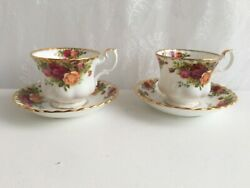 2 Royal Albert Old Country Roses Tea Cups And Saucers - Two Sets Available 393
