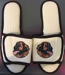 Soft Spa Slipper Salon Waffle Adjustable Shoes - Dog Embroidered - Medium - NEW